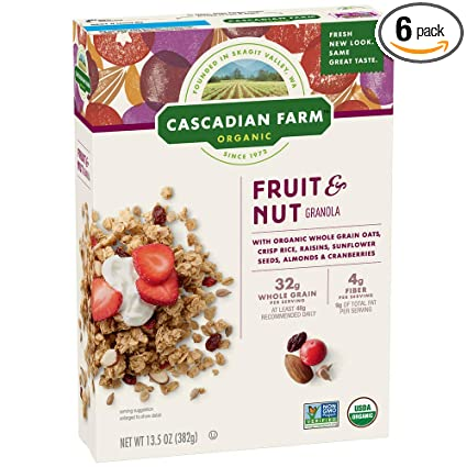 Cascadian Farm Organic Granola, Fruit and Nut Cereal, 13.5 ...