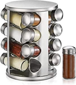 DEFWAY Revolving Countertop Spice Rack - Stainless Steel Spice Organizer with 16 Seasoning Jars, Large Standing Cabinet Seasoning Tower for Kitchen