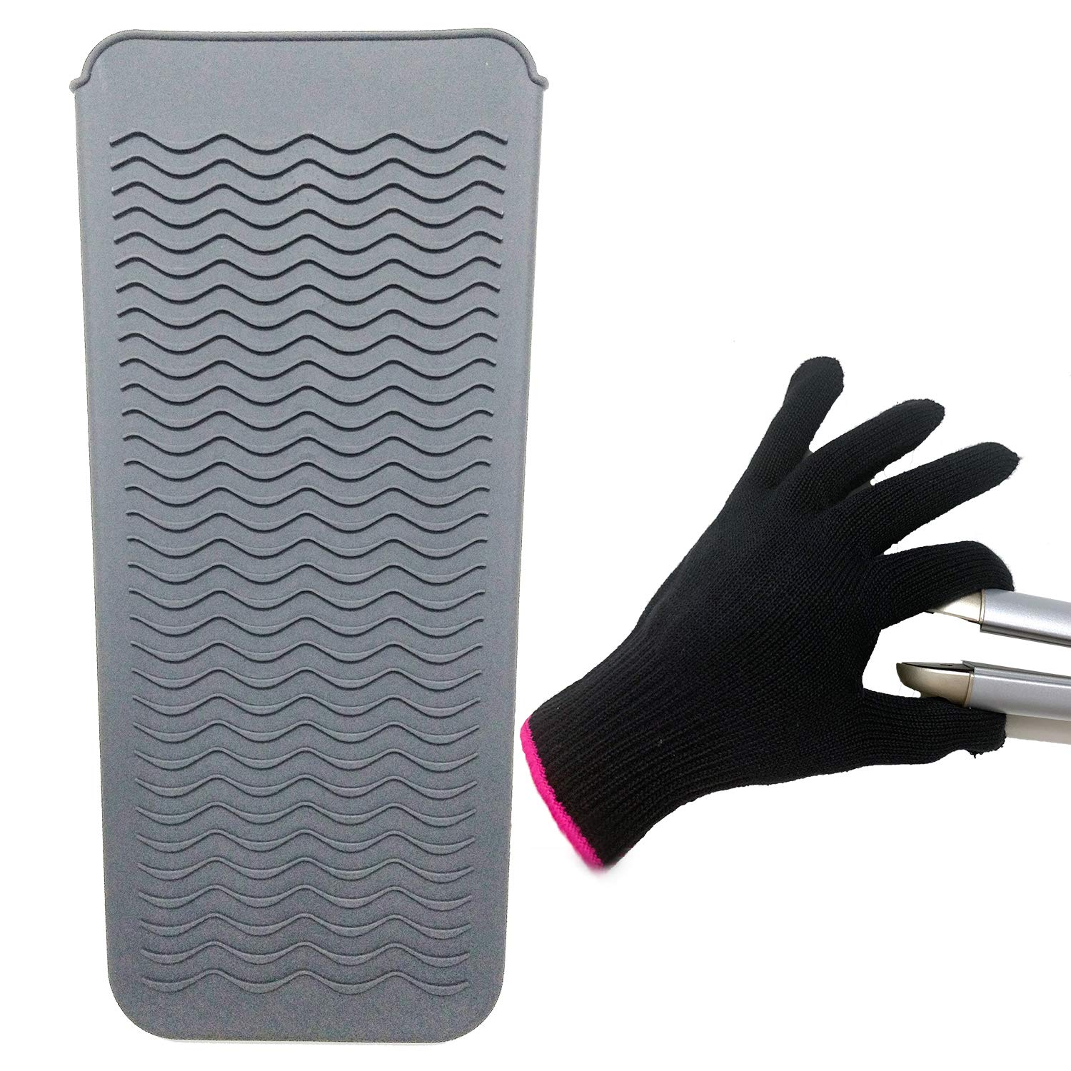 """Heat Resistant Mat Pouch and Heat Resistant Glove for Curling Irons, Hair Straightener, Flat Irons and Hair Styling Tools 11.5"""" x 6"""", Food Grade Silicone, Gray"""