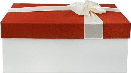 Interior Marr/ón Chocolate y Lazo Decorativo Satinado Emartbuy Conjunto de 2 R/ígido lujo Rect/ángulo en Forma de Caja de Regalo de Presentaci/ón 31 x 21 x 15 cm Caja de Color Crema Con Tapa Roja