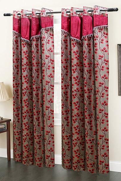 Homefab India Designer Floral Eyelet Polyester Door Curtain - 7ft, Maroon