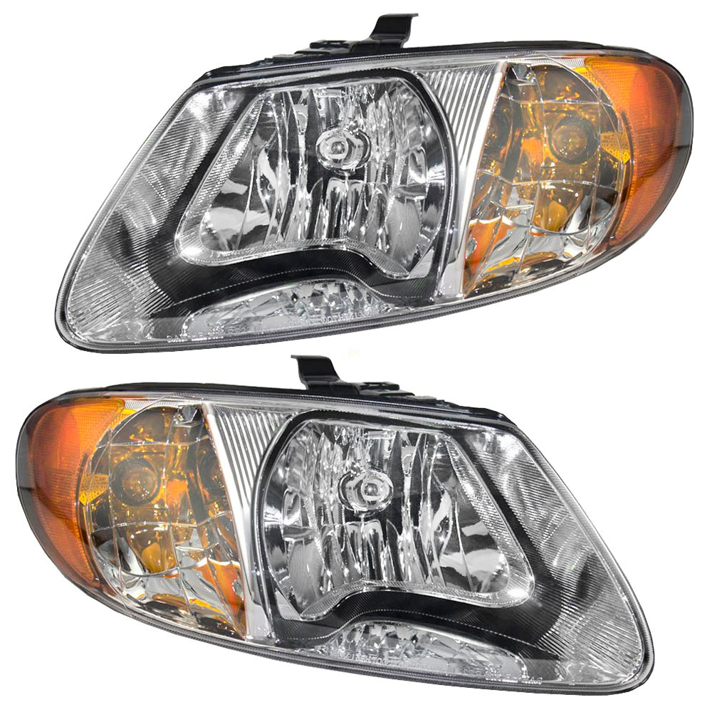 Driver and Passenger Headlights Headlamps Replacement for Dodge Chrysler Van 4857701AC 4857700AC APA 4333010842