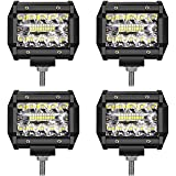 LED Light Bar TURBO SII LED Pods 4 Inch 60W Off Road Driving Lights Triple Row Spot Flood Beam LED Fog Lights Led Work Lights