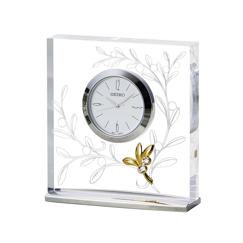 セイコー クロック 置時計 アナログ L'espoir レスポワール オリーブ 模様 UF520S SEIKO B0784NLS7Pオリーブ模様