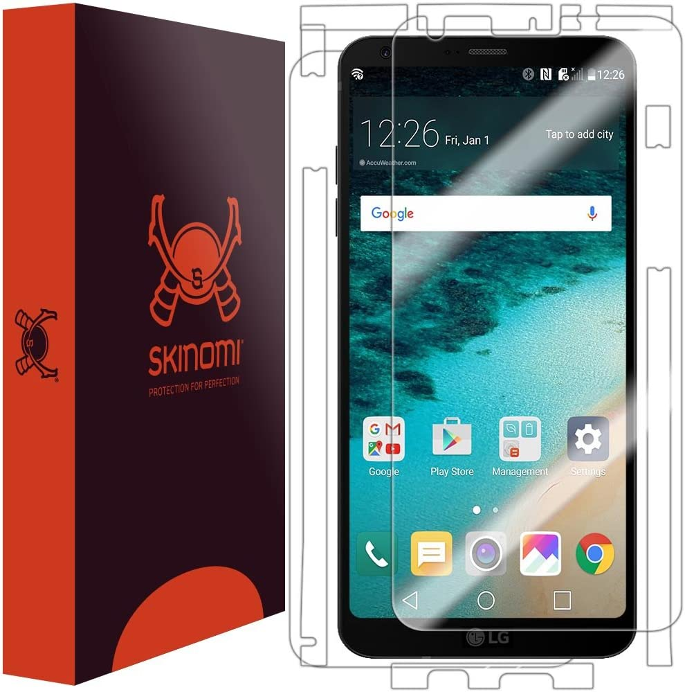 TechSkin Full Coverage Clear HD Film Skinomi Full Body Skin Protector Compatible with LG G6 Screen Protector + Back Cover