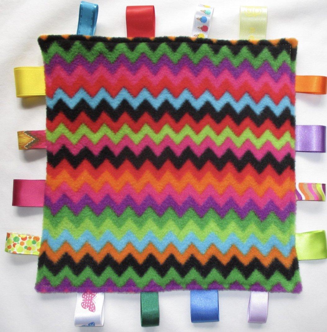 Baby taggie security comforter blanket -Zig Zag Rainbow taggy Nannasue