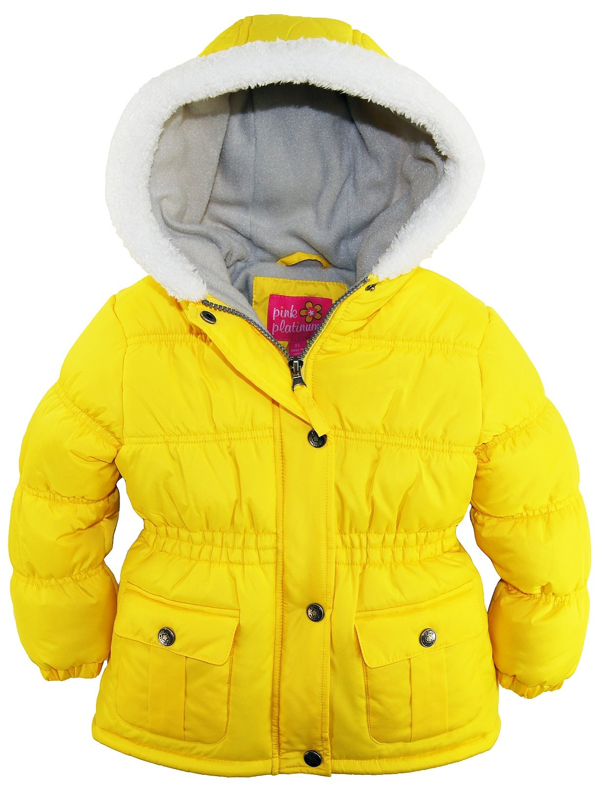 Pink Platinum Little Girls Sherpa Trim Hood Solid Puffer Winter Snow Jacket Coat, Acid Grey, 2T