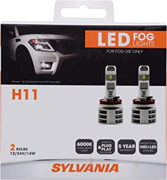 amazon com sylvania h11 led fog light premium quality plug and play led fog lights bright white light output matches hid led headlight lighting systems added style performance contains sylvania h11 led fog light premium quality plug and play led fog lights bright white light output matches hid led headlight lighting systems
