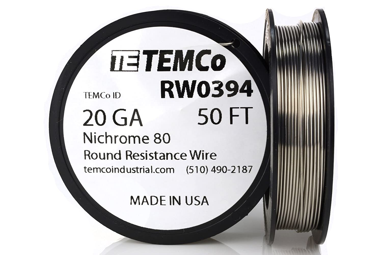 TEMCo Nichrome 80 series wire 20 Gauge 25 FT Resistance AWG ga ...