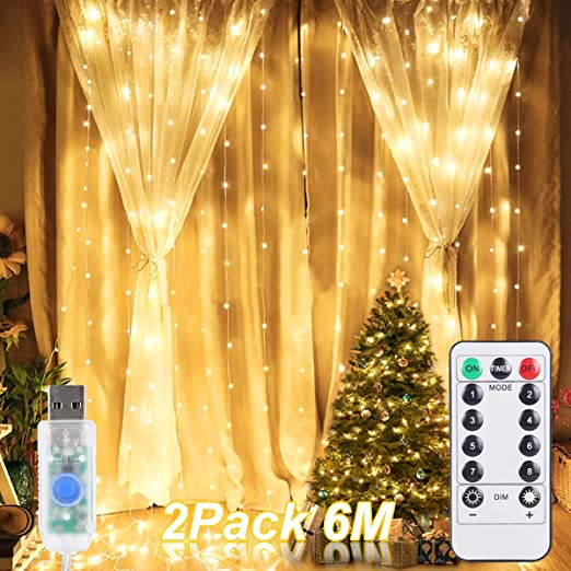 Cortina de Luces LED, ALED LIGHT 2 Pack 600 (2x300) LED 3mx3m Luces de Cadena de