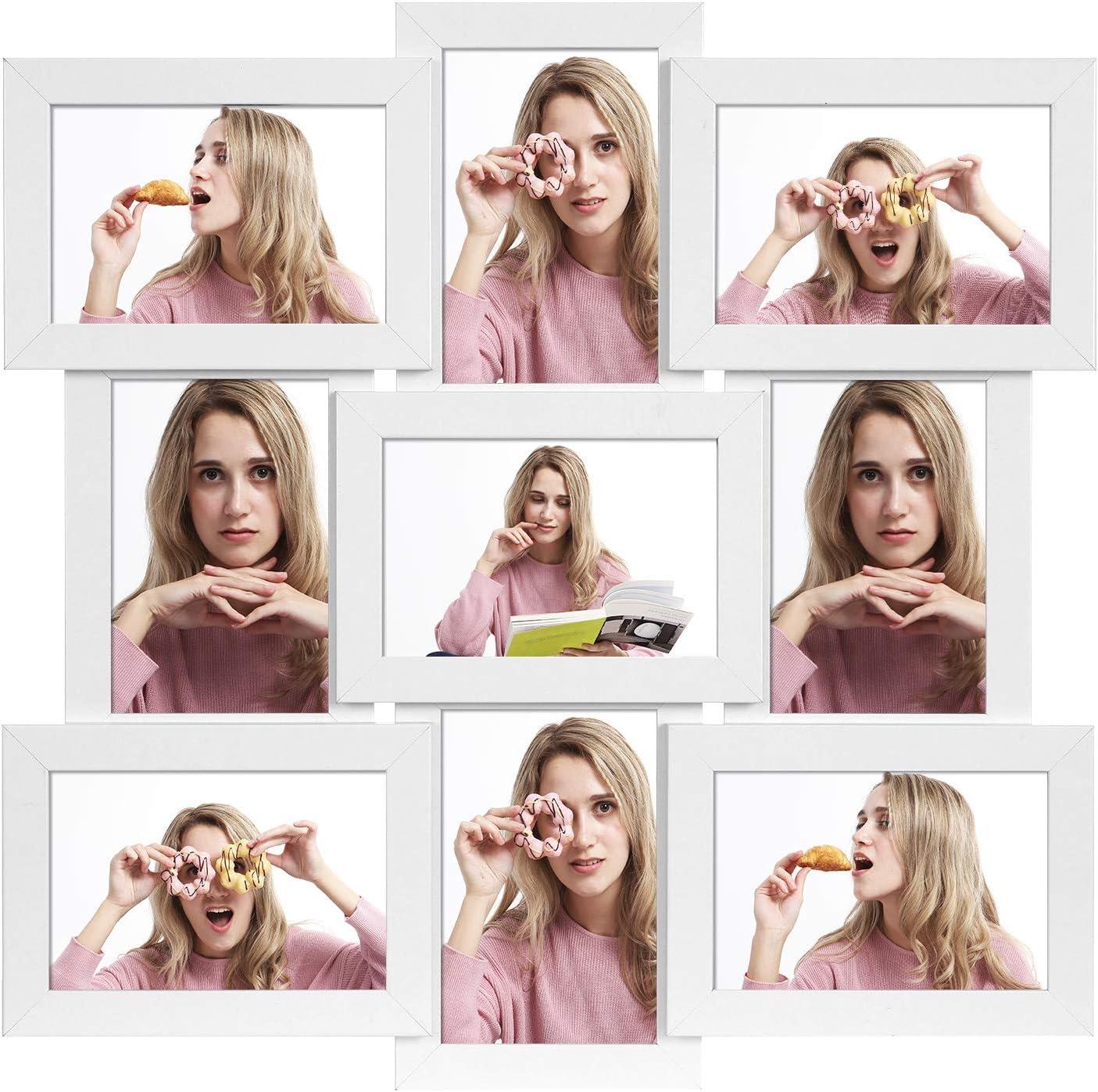 SONGMICS Collage de Marco para 9 Fotos, 10 x 15 cm de Cada Uno, para Colgar, para Fotos Familiares, MDF, Protección de Vidrio, Blanco RPF029W01