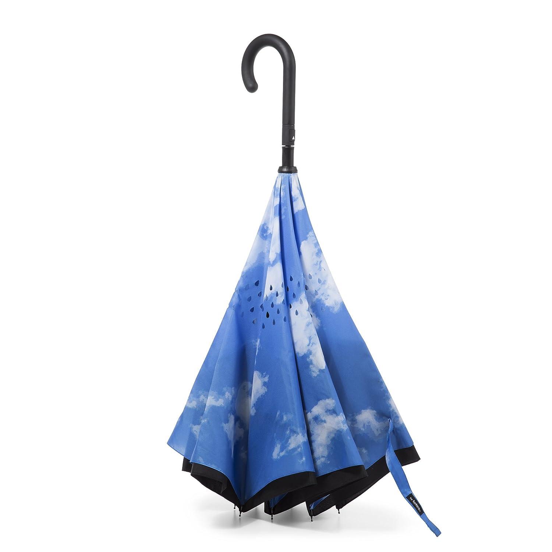 Totes Women's Inbrella Reverse-Close Folding Umbrella, Sky Totes Umbrellas 0901