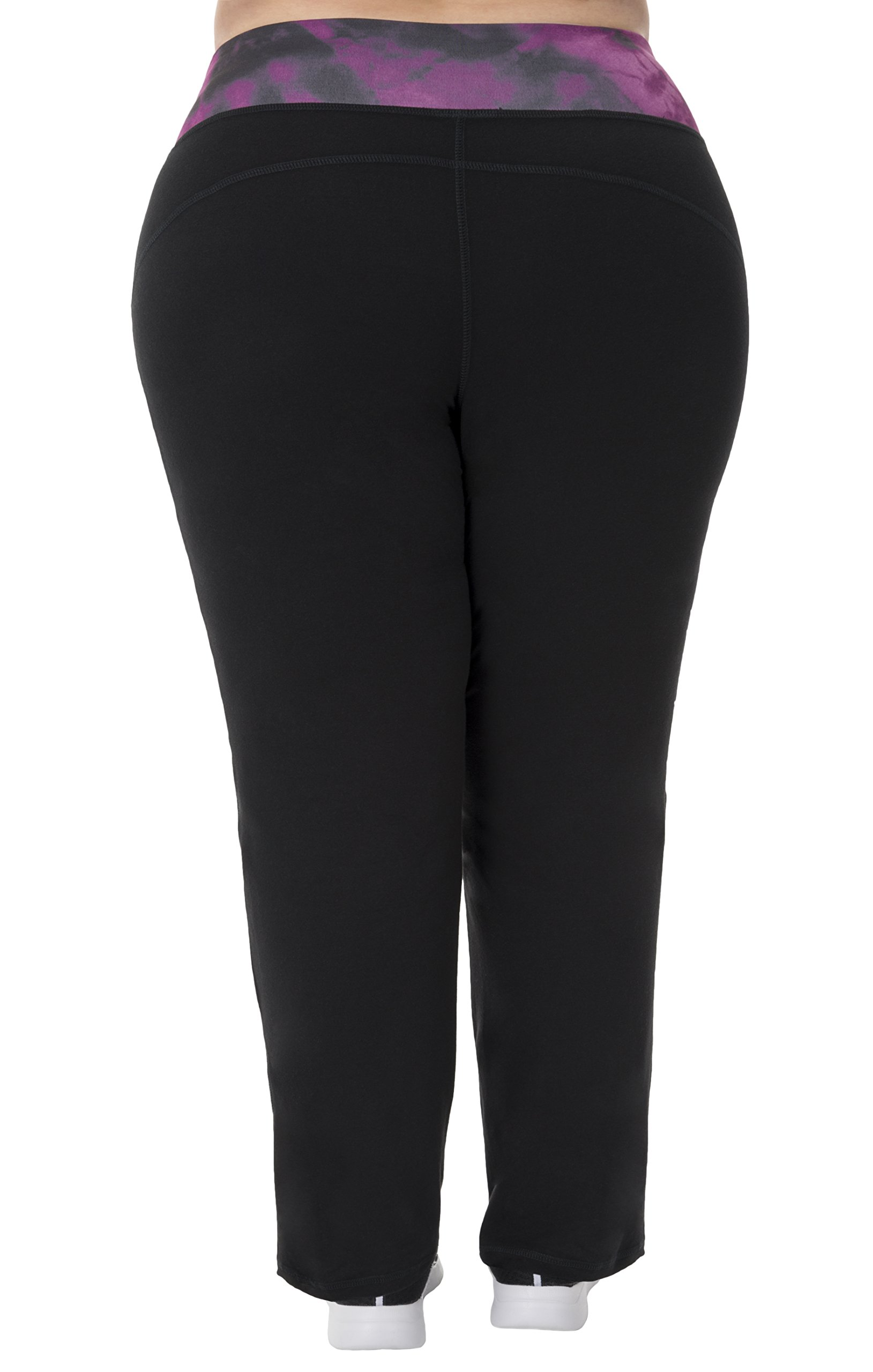 Fit for Me by Fruit of the Loom Women's Plus Size Relaxed Fit Yoga Pant, Black/Deep Plum Cloud, 2X by Fit for Me by Fruit of the Loom (Image #2)