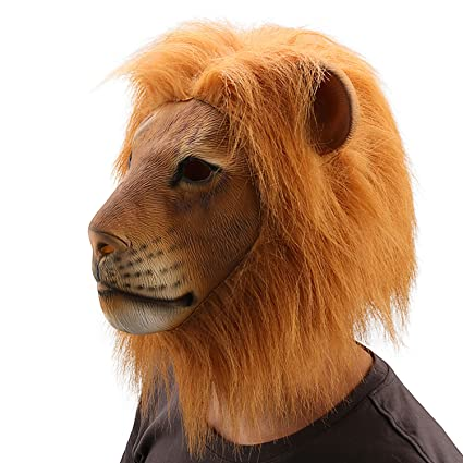 Color Ylovetoys Lion Head Mask Novelty Halloween Costume Party Decorations Funny Latex Rubber Animal
