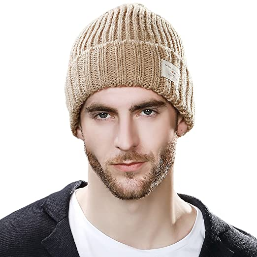 defe8c82d57 SIGGI Beige Winter Beanies for Womens Knit Skull Beanie Hat Men Women Watch  Cap Warm Acrylic Unisex  Amazon.ca  Clothing   Accessories