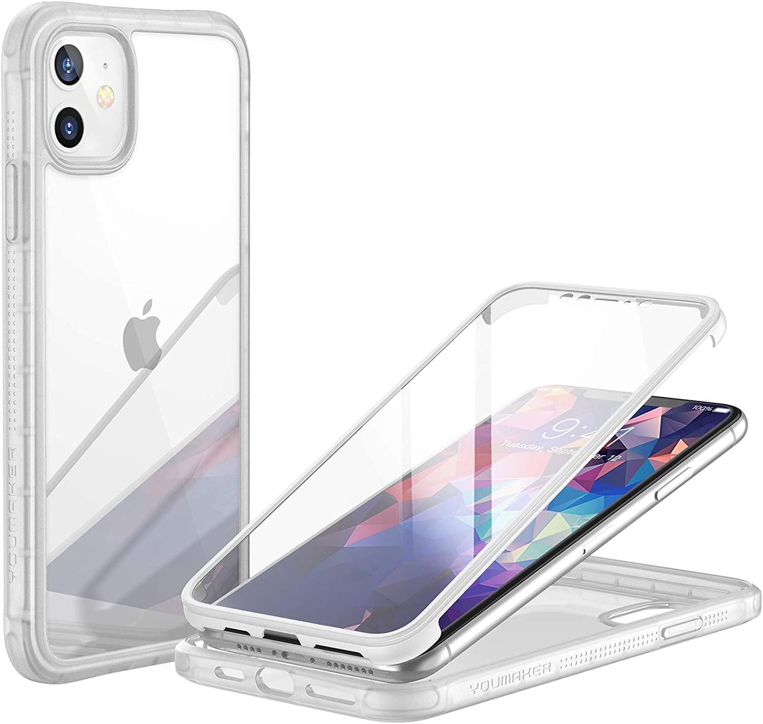 YOUMAKER [2021 Upgraded] Janus Designed for iPhone 11 Case with Built-in Tempered Glass Screen Protector Full Body Rugged Slim Fit Clear iPhone 11 6.1 Inch - Clear