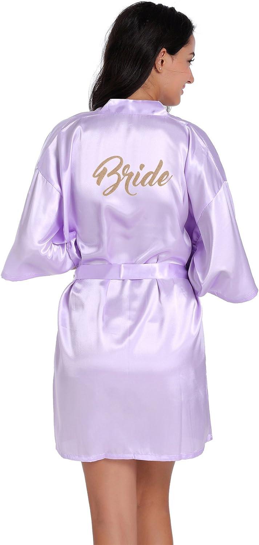 Amzchoice Satin Kimono Wedding Party Getting Ready Robe with Gold Glitter