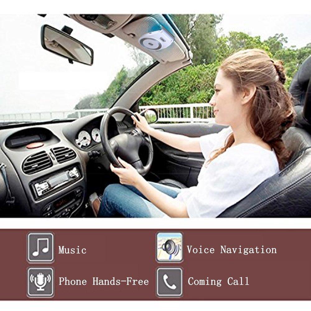Aigoss Bluetooth 4.1 Manos Libres Coche Kit, AUTO POWER ON con Sensor de Movimiento Integrado para la Visera GPS y A2DP, Música, Conectar dos Teléfonos: ...