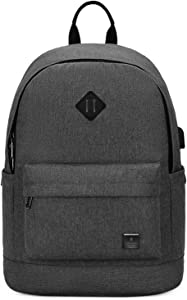 Small Laptop Backpack For Women Men Fit 15.6 in Notebook College School Student Black Bookbag for Teen Boy Girl Work Casual Daypack Classical Backpack Dark Grey