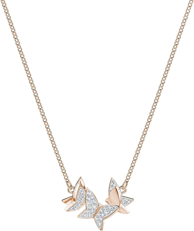 Swarovski Collar Lilia, baño en Tono Oro Rosa, pequeño, Cristal Blanco, para Mujer