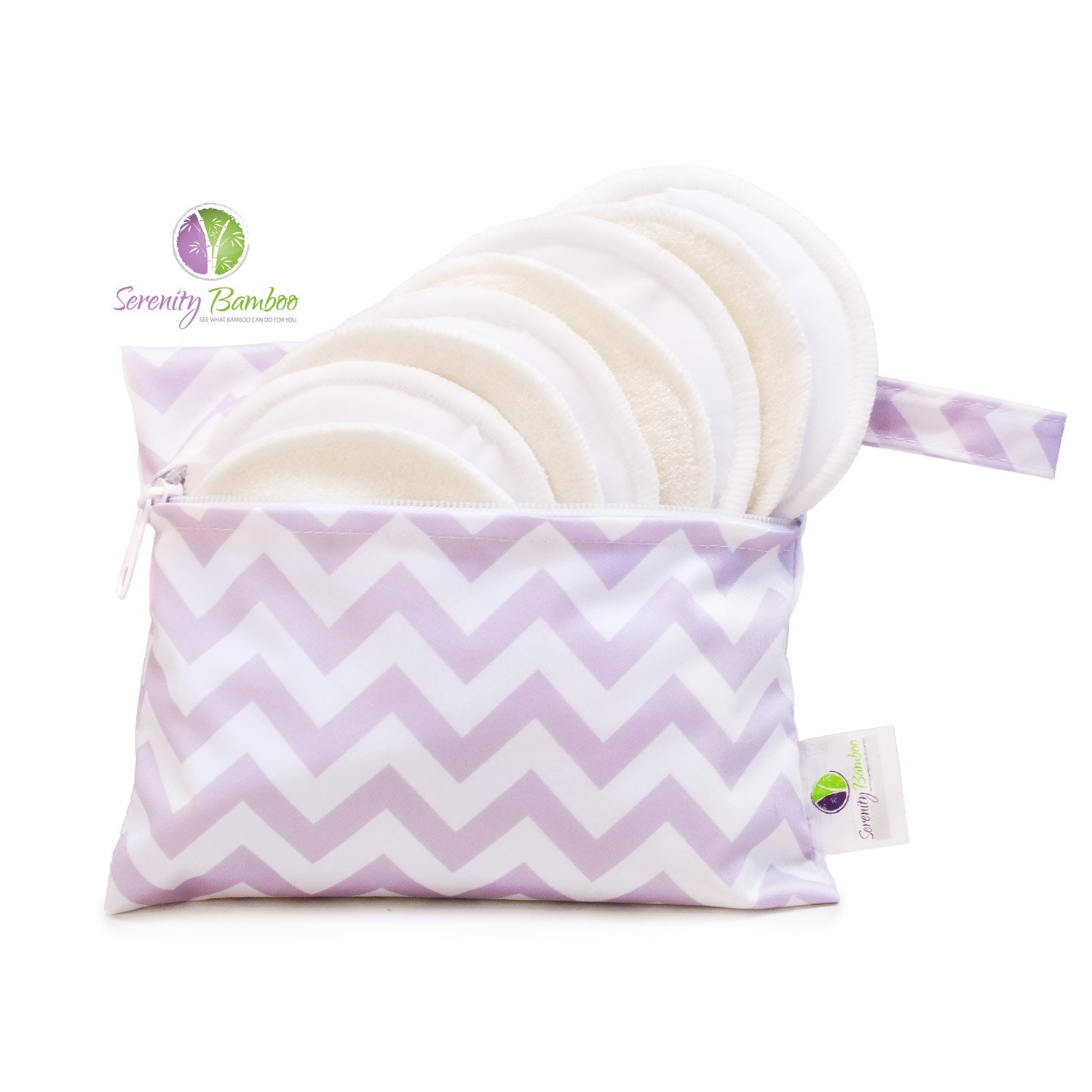 Washable Organic Bamboo Daytime Nursing Pads 8 pack (4 pair) Small Size with Laundry Bag - Natural and Reusable, Ultra Soft, and Super Absorbent for the Ultimate Luxury Breast Pad - By Serenity Bamboo