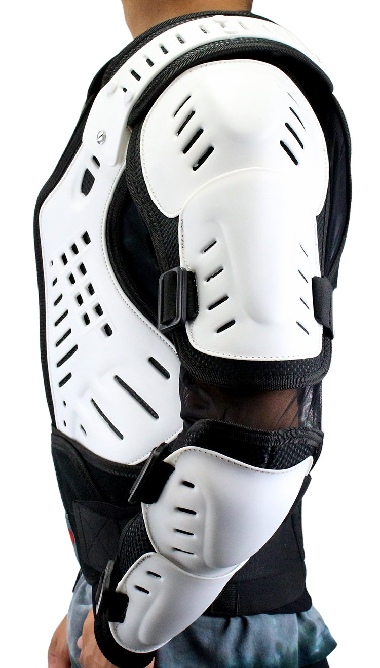 Perrini White//Black CE Approved Full Body Armor Motorcycle Jacket