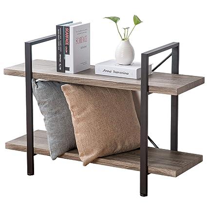 HSH Furniture 2 Shelf Bookcase Industrial Wood Display And Storage Bookshelf Dark Oak