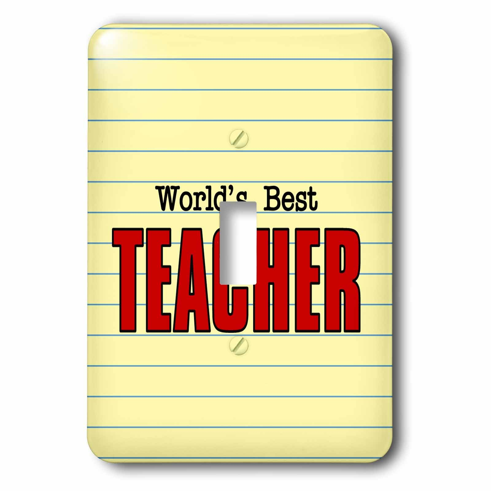 3dRose Doreen Erhardt Occupation Collection - Worlds Best Teacher in Red and Black Word Art with Yellow School Paper - Light Switch Covers - single toggle switch (lsp_283480_1)