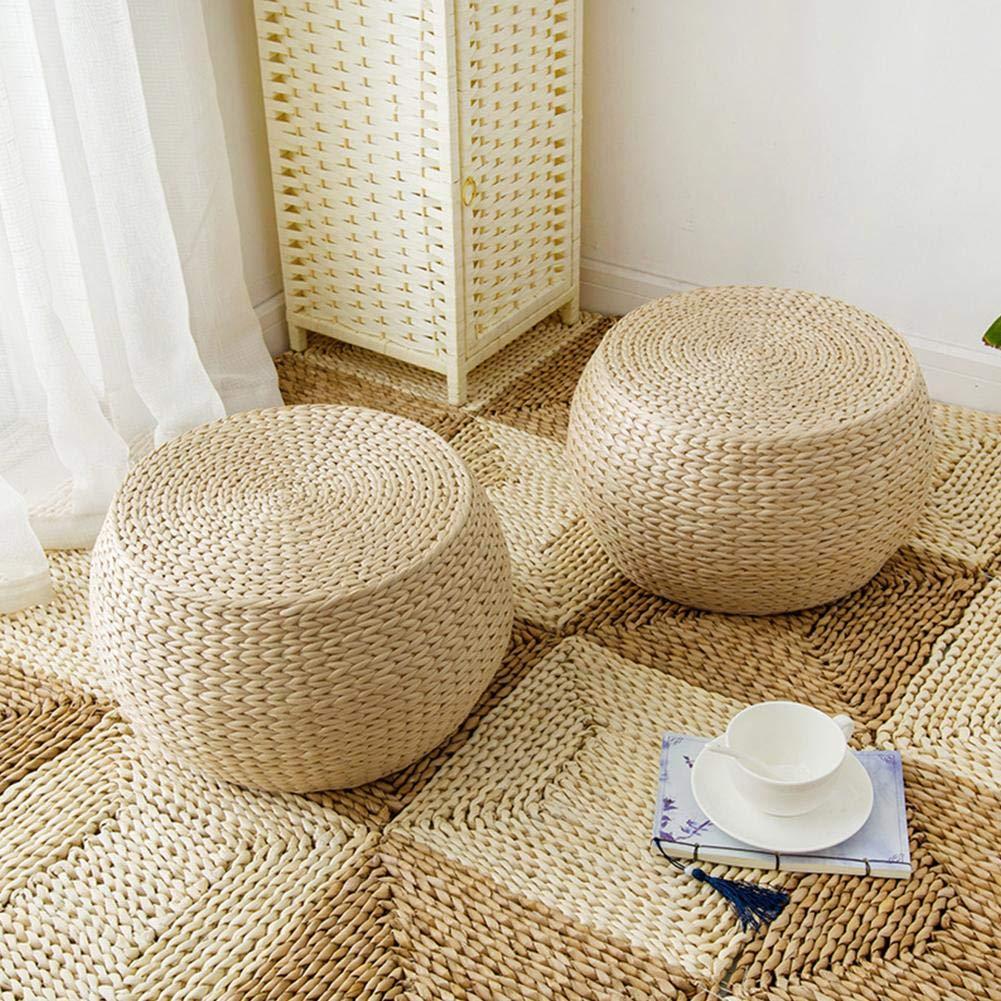 Tatami Yoga Seat Cushion Round Pouffe Handmade Chair Cushion Diuspeed Woven Straw Cushion Knitted Floor Mat Garden Dining Room Decor at Home Outdoor