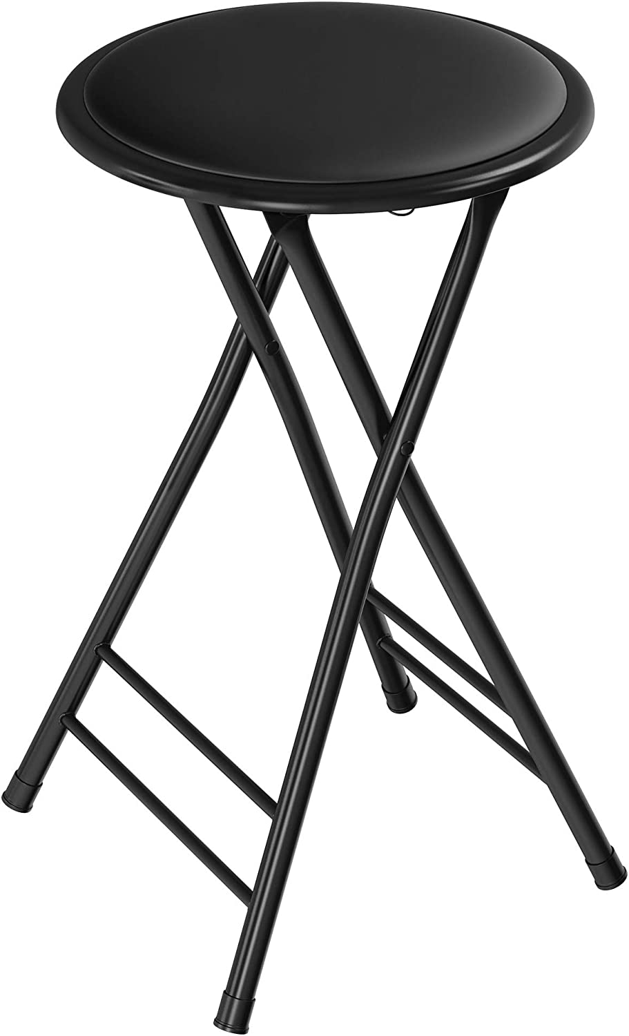 Folding Stool – Heavy Duty 24-Inch Collapsible Padded Round Stool with 300 Pound Capacity for Dorm, Rec Room or Gameroom by Trademark Home (Black)