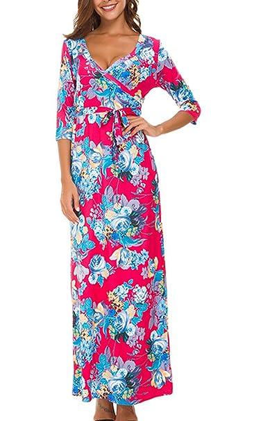 1bd948b2b9 Simple-Fashion Primavera y Otoño Vestido con Vendaje Elegante Moda Cuello V  Manga 3 4 Vestidos de Partido Cóctel Fiesta Casual Impresión Largo Vestido  de ...