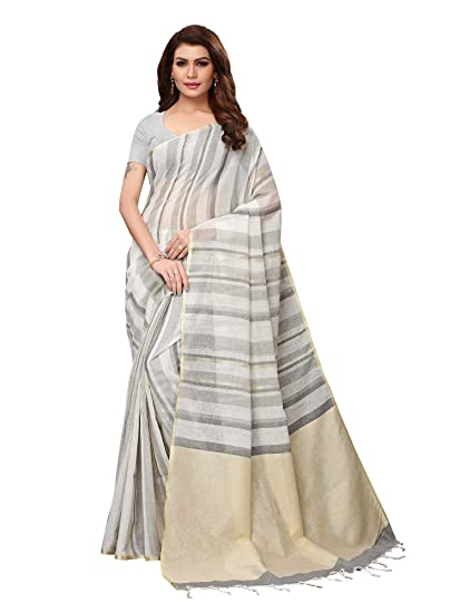 authentic big selection of 2019 new Mrinalika Fashion Women's Linen Saree with Unstitched Blouse Piece  (Grey_2PRPMX22B)