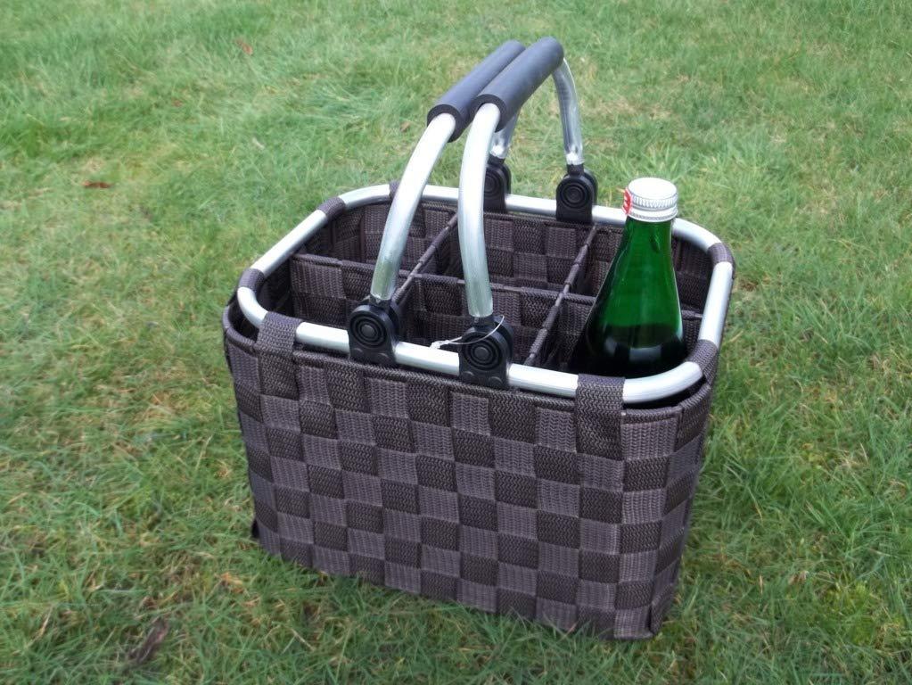 Flaschenträger aus Metall und Nylon für 6 Flaschen mit Klappbügel Flaschenkorb