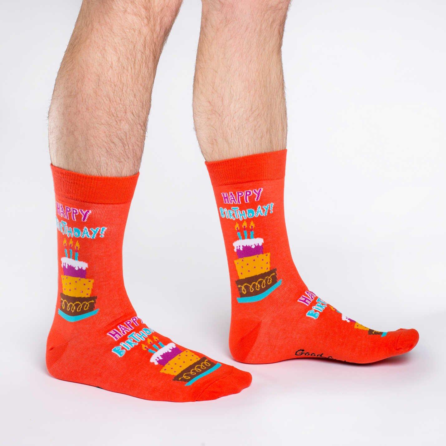 Good Luck Sock Mens Happy Birthday Crew Socks Orange Adult Shoe size 7-12