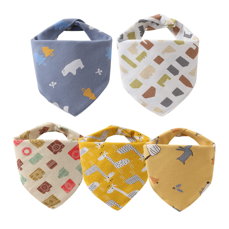5 St/ück Baby Dreieckst/ücher L/ätzchen mit 2 Verstellbares Druckknopf,100/% Bio-Baumwolle,Weiche /& Absorbierende,f/ür Kleinkinder Jungen und M/ädchen