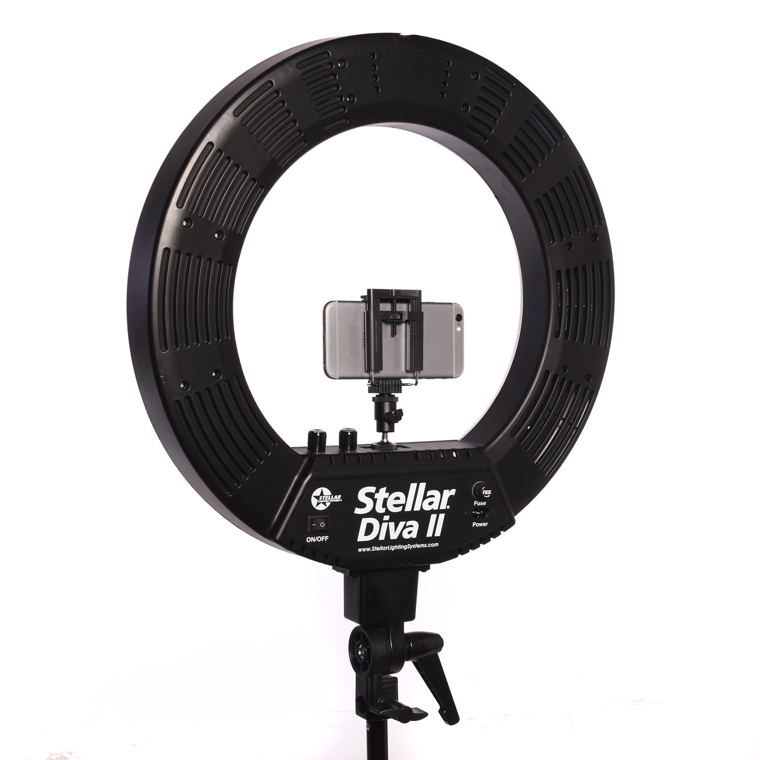 Stellar 18'' LED Diva II Ring Light (Black) w/Wireless Bluetooth Camera Shutter Remote Control for IOS & Android Phones and Universal Smartphone Tripod Mount & Adapter For Most Smartphones by Calumet (Image #4)