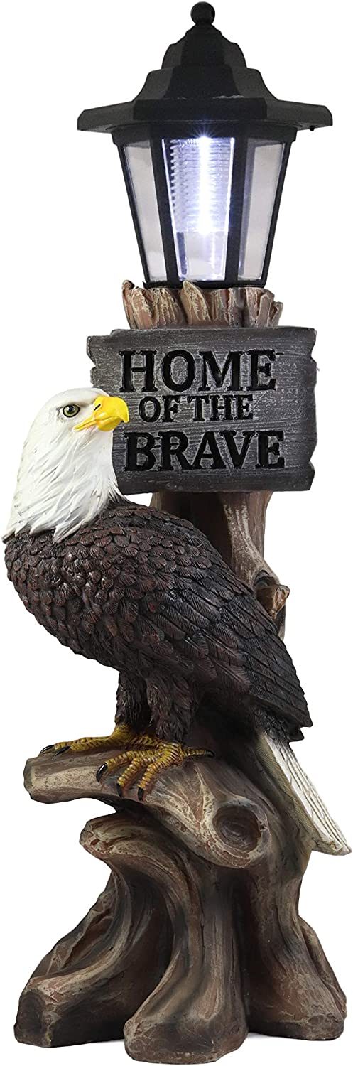 Ebros 'Home of The Brave' Patriotic Bald Eagle Perching On Tree Stump Garden Courtesy Night Light Statue Solar LED Lantern Lamp Guest Greeter Decor for Patio Poolside Home Figurine