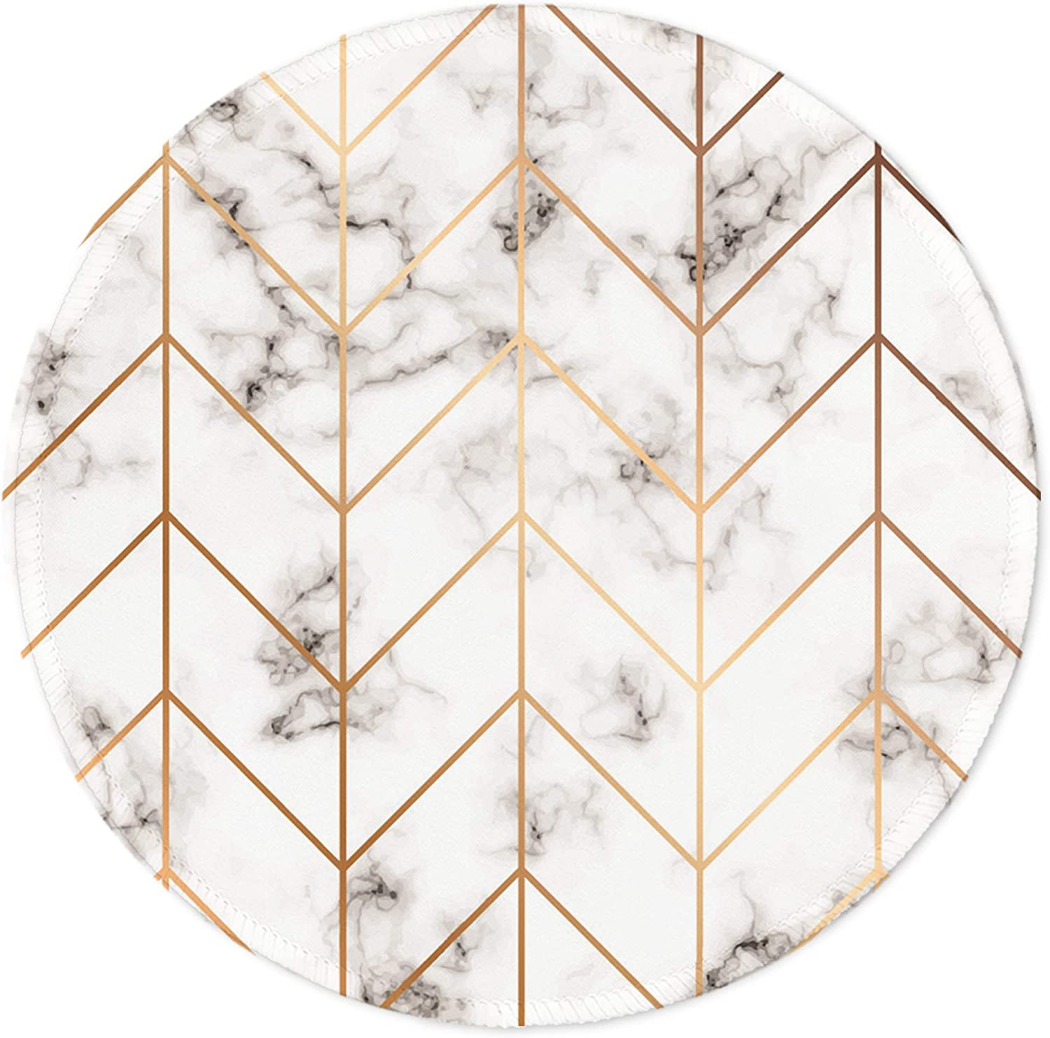 Boutilon Round Mouse Pad Non-Slip Rubber Base Mouse Pads Cute Mat Size 7.9 x 7.9inch Comfortable Office and Home Gaming Mouse Pad for Computer Desktops, PC, Laptop (Geometric Marble)