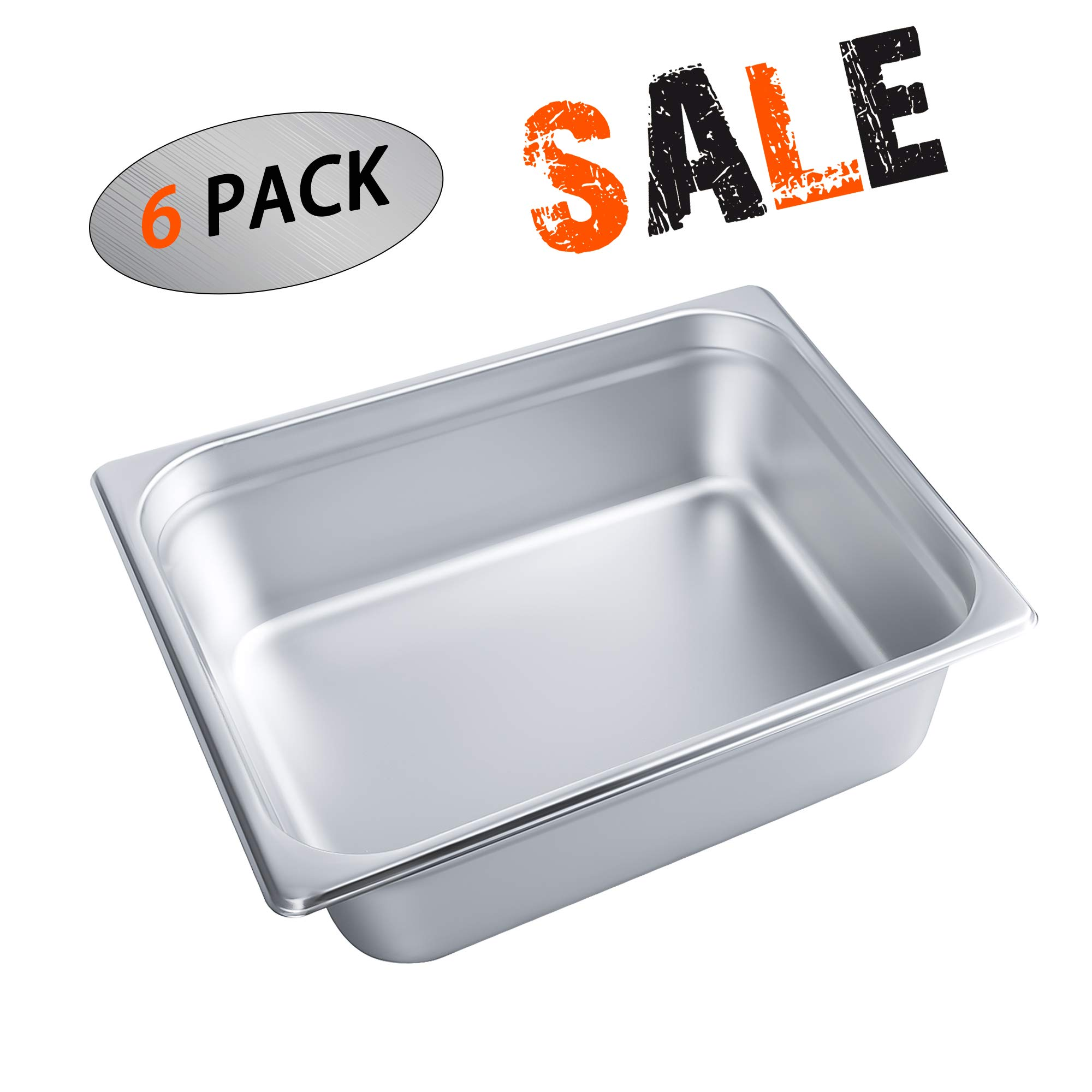 4'' Deep Steam Table Pan Half Size,Kitma 6 Quart Stainless Steel Anti-Jam Standard Weight Hotel GN Food Pans - NSF (12.8''L x 10.43''W) - 6 Pack