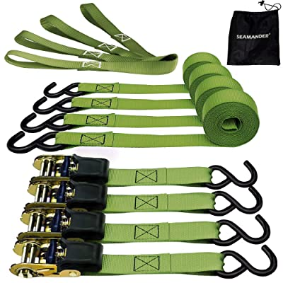 Seamander Ratchet Tie Down Straps 500 Load Capacity & 1, 500 Lbs Breaking Strength (4 Pack & 4 Soft Loops)