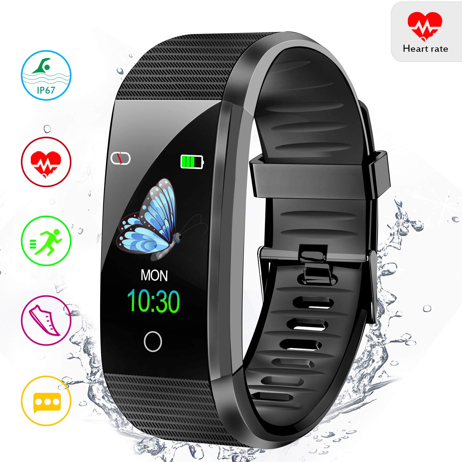 Amerzam Fitness Tracker Activity Tracker Smart Bracelet with Heart Rate Monitor Sleep Monitor Step Counter Waterproof Smart Watch for Women Men,Android iOS Phones