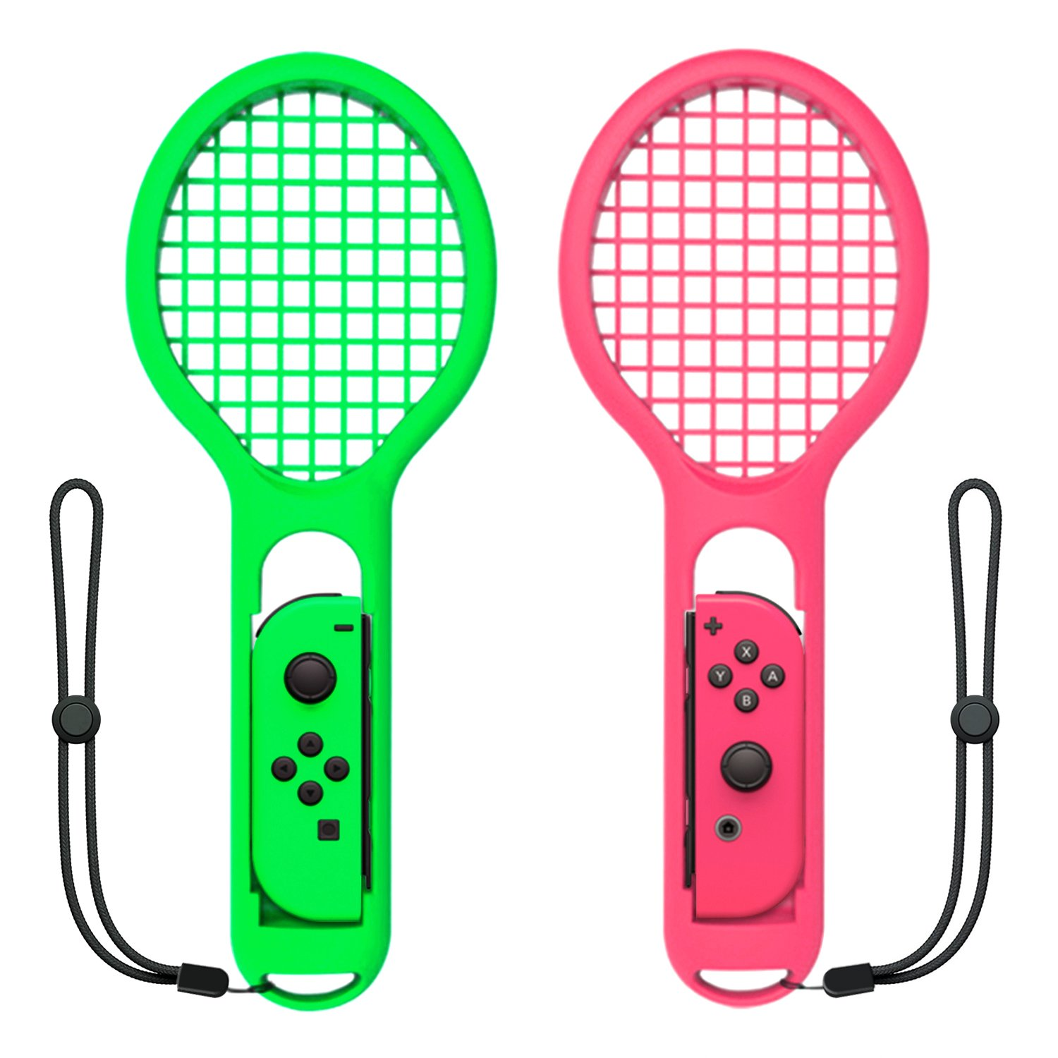 Tennis Racket Compatible with Nintendo Switch Joy-Con Controller,Accessories Compatible with Nintendo Switch Game Mario Tennis Aces Green and Pink - Only Use for Swing Mode on Nintendo Switch by FYOUNG