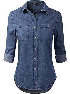 ed79a20363b3 Instar Mode Women's Basic Classic Long/Roll Up Sleeve Button Down Chambray  Denim Shirt Tunic