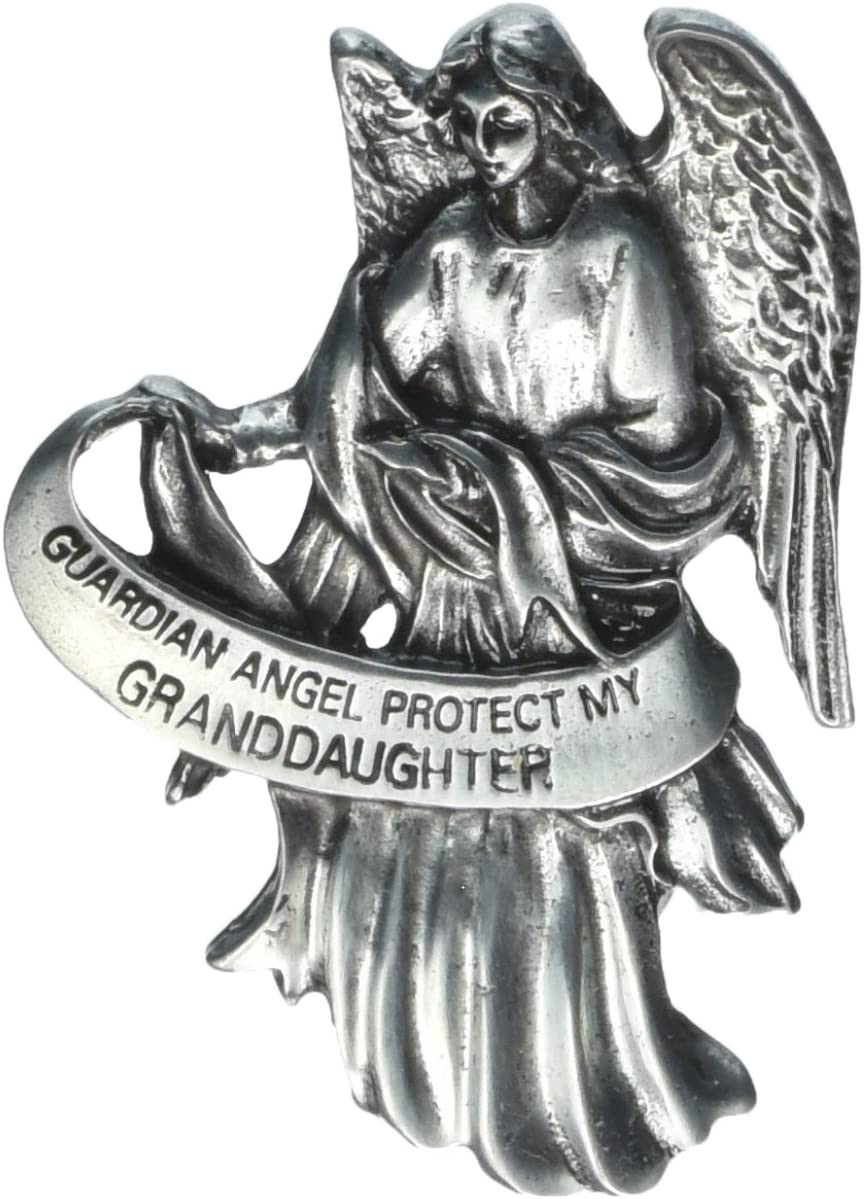 Visor Clip of Guardian Angel 2 1//2H-Protect My Granddaughter Pewter Antique Finish