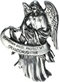 """Visor Clip of Guardian Angel 2 1/2""""H-Protect My Granddaughter Pewter Antique Finish"""