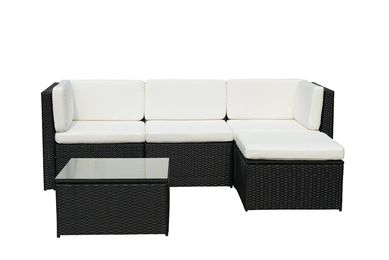 GARTENFREUDE Gartenmöbel Lounge Gartenset Garnitur Sitzgruppe Polyrattan 13-teilig, Aluminiumgestell, schwarz im eleganten 4-Faser Design, wetterfest, inklusive Kissen