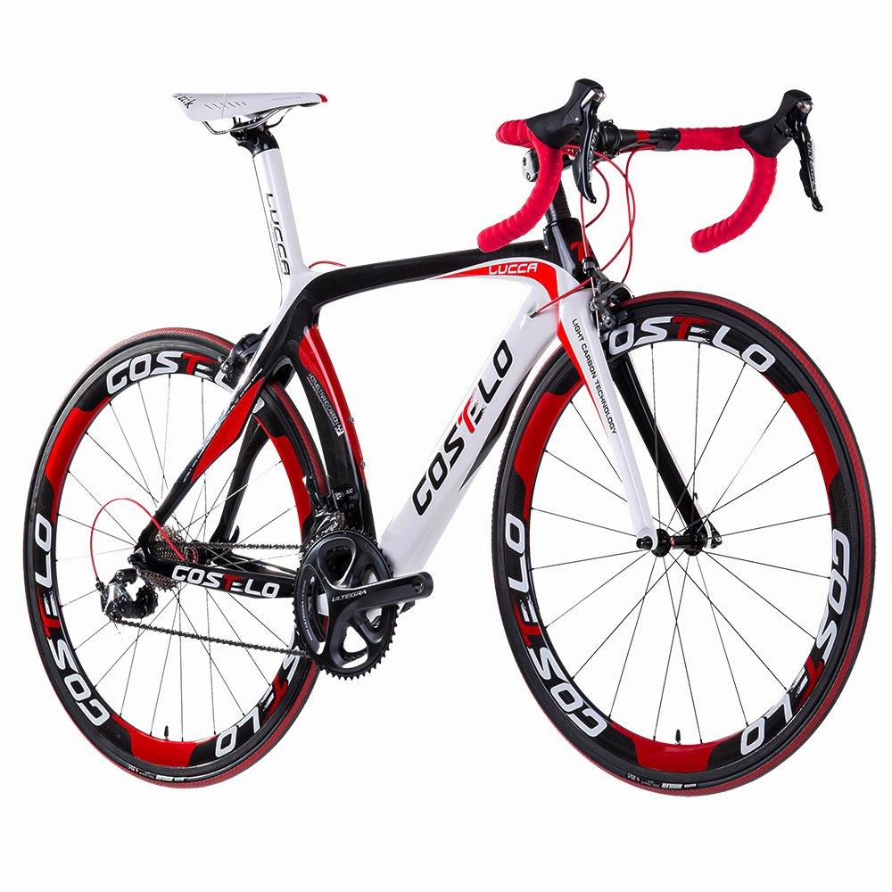 Costelo Lucca - Bicicleta de carretera de carbono, grupo completo Shimano, ruedas de carbono , rojo: Amazon.es: Deportes y aire libre