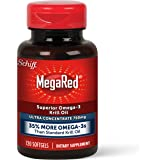 MegaRed Omega-3 Krill Oil Supplement 750mg - Ultra Strength Softgels (120 Count in A Bottle), Has No Fishy Aftertaste, Has EP