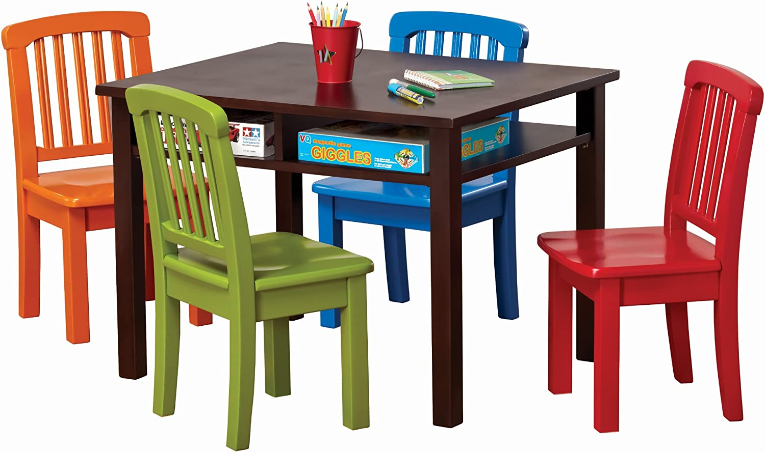 Ukid Rectangle Childrens Game Table with 8 Chairs, Chocolate