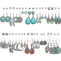 36 Pairs Fashion Vintage Simulated Turquoise Drop Dangle Earrings Set for Women Girls Boho Hollow Waterdrop Leave…